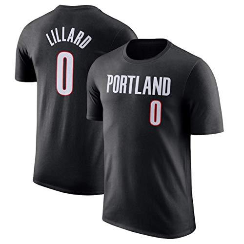 2021 Camiseta De Baloncesto Para Hombre, Portland Trail Blazers #0 Damian Lillard Manga Corta, Cómodo Y Transpirable, Lavable A Máquina, No Se Desvanecerá, Material De Algodón Puro,Negro,XXXL