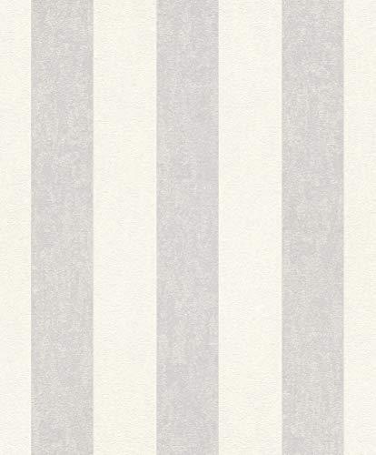 rasch Tapete 402919 aus der Kollektion Uptown – Vliestapete in Creme mit grauen Streifen – 10,05m x 53cm (L x B)