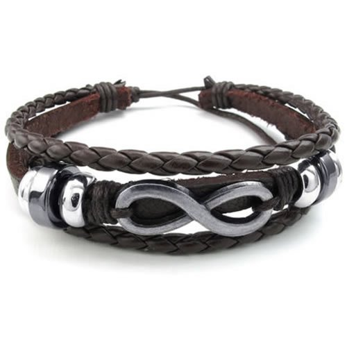 KONOV Mens Womens Leather Bracelet, Love Infinity Charm Bangle, Fit 7-9 inch, Brown Silver