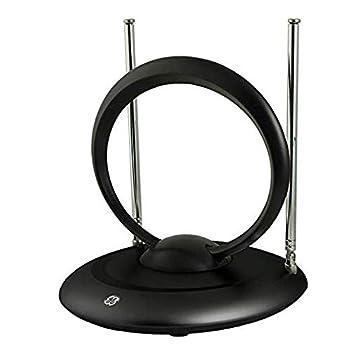 GE Indoor Rabbit Ear HD TV Antenna Tiltable UHF Circular Loop 15 inch Dipoles Supports 4K 1080P VHF UHF Passive Indoor Smart TV Compatible 33694 Modern Rabbit Ear