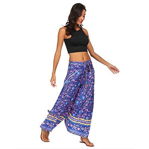 LIXIAOLAN Frauen Yoga Pants Lose Seiten Split Mit Blumenmustern Hose Damen Freizeit Weite Beine Gabel Yoga Pants,A10,One Size
