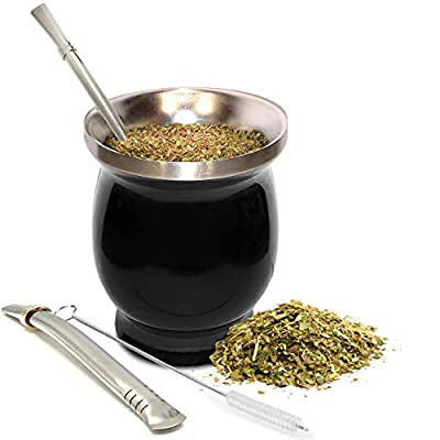Yerba Mate Natural Gourd/Tea Cup Set (Original Traditional Mate Cup - 8 Ounces) | Includes Bombilla (Yerba Mate Straw) & Cleaning Brush | Black Stainless Steel | Double-Walled | Easy to Clean