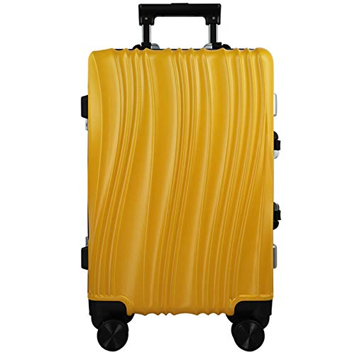 Adlereyire Trolley Suitcase Lightweight Durable Carry On Cabin Hand Luggage Set, Travel Bag with 4 Wheels (Color : Yellow, Size : 65cm)