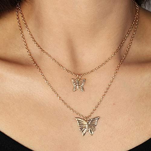 Jovono meerlagige vlinderhalskettingen Fashion Choker halsketting sieraden voor vrouwen en meisjes Goud