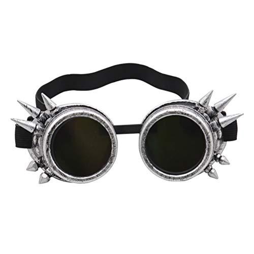 Breale Occhiali stile steampunk, stile vintage, con borchie e occhiali