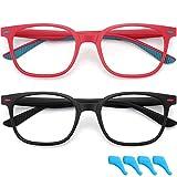 Lot de 2 paires de lunettes anti-fatigue oculaire pour enfants de 4 à 12 ans Noir et rouge
