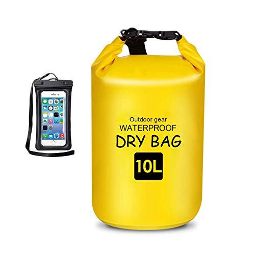 Bolsa flotante impermeable seca de 10 L, bolsa enrollable que mantiene el equipo seco para kayak, rafting, canotaje, natación, camping, senderismo, playa, pesca