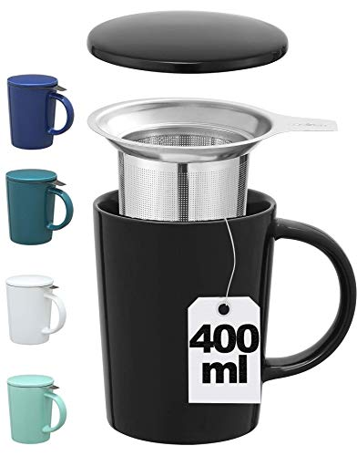 Taza con Filtro para Te e Infusiones - Negra - Ceramica - Con Tapa y Asa - XL 400ml Grande