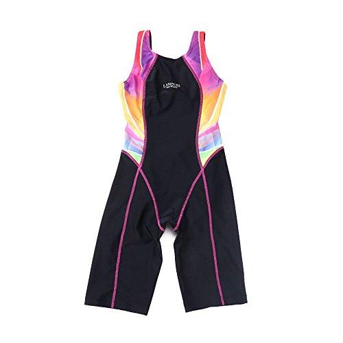 HAIZI Mädchen Einteiler Allover Schwimmanzug Sport Badeanzug mit längerem Bein Bademode