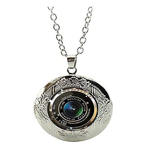 Collar con medallón de lente de cámara antigua, color gris, negro, blanco, fotografía, medallón