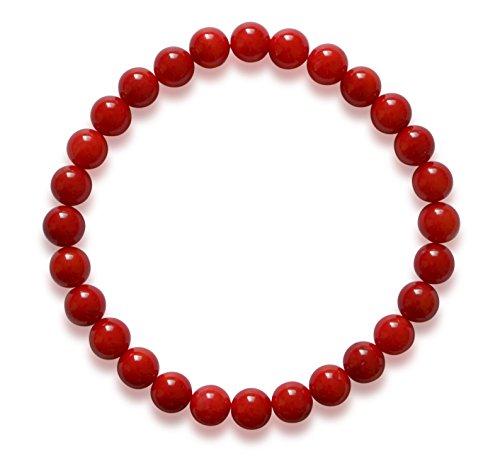Vifaleno Bracciale in Corallo, Corallo Naturale, Rosso, Cerchio,7mm