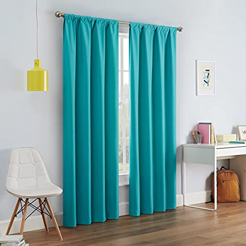 """ECLIPSE Kendall Thermal Insulated Single Panel Rod Pocket Darkening Curtains for Living Room, 42"""" x 54"""", Turquoise"""