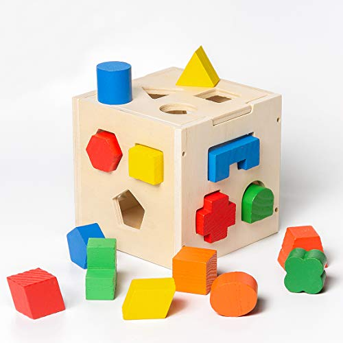 Highttoy Shape Sorter Cube,15 Holes Wooden Shape Sorter Toys for Toddlers...