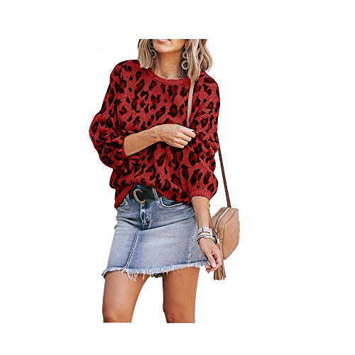 Hirate Women Knit Sweater Puff Long Sleeve Sweater Crewneck Cardigan Loose fit Pullover Leopard Sweater (Red, Medium)