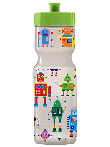 Kids Sports Squeeze Water Bottle - 22 oz. BPA Free Sport Bottle W/ Easy Open Push/Pull Cap - Durable Bottles Perfect for Boys & Girls, School & Sports - Made in USA (Robots)