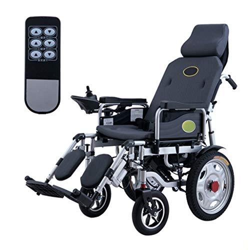 Silla de ruedas electrica Plegable Respaldo con Control Remoto Ajustable, absorción de Impactos, Doble Motor, Silla de Ruedas Manual de Doble Uso, con Joystick de 360 °