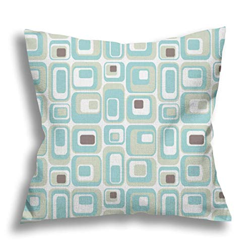 Retro Rectangles Mid Century Modern Geometric Vintage Style Flax Pillow Case Decorative Pillow Cushion Cover for Sofa Chair Bed Car Home Office Decor 45x45 cm