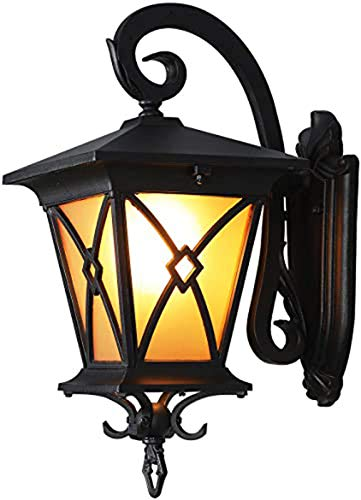Exterior Wall Lanterns, Outdoor Wall Sconce Porch Light Fixture, Waterproof Wall Lamp for Garden, Patio, Balcony, Carriage Lantern Design, Matte Black Housing with Amber Glass