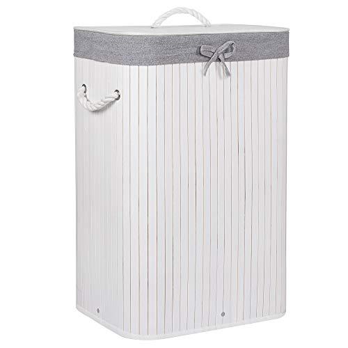 SPRINGOS Cesto de bambú para la colada con cierre, asa, 72 L, cesta para la ropa sucia, 1 cámara, cesta para la colada con bolsa extraíble, de bambú, color blanco y gris