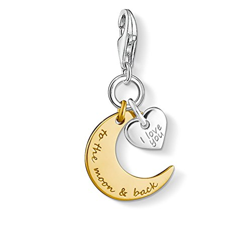 THOMAS SABO Damen Charm-Anhänger Mond & Herz I Love You to The Moon & Back 925er Sterlingsilber; 750er Gelbgold Vergoldung 1443-413-39