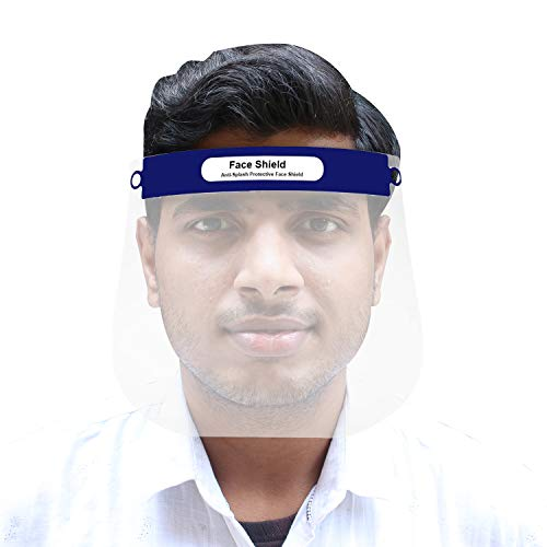 Pivalo ORFS01 350 Micron Disposable Face Shield with Adjustable Elastic Strap Anti-Splash Single Use Protective Facial Cover Transparent Full Face Visor with Eye & Head Protection (1 Pc)