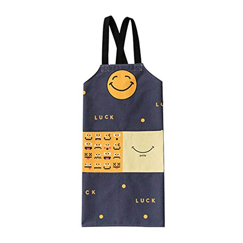 JANOO Funny Kitchen Apron for Women and Men - for Cooking, Baking, BBQ Apron, Smiley Emoji Cartoon Wrinkle Free Cute Apron with Pockets for Storage, Smiles in Kitchen (Slate Blue)