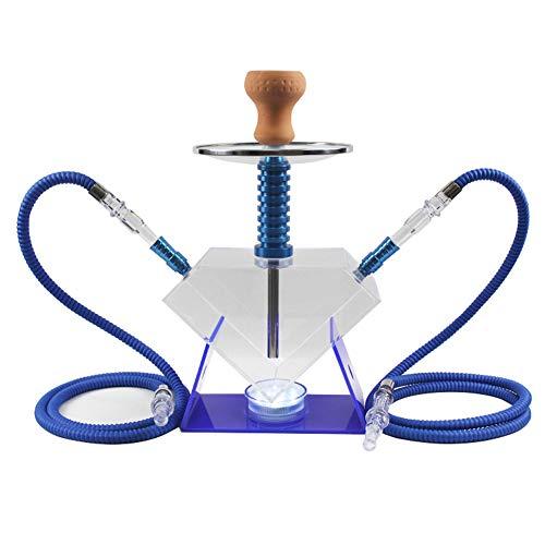 Mr. Hao Shisha Rauchen Rohr-Set mit 2 Schlauch Wasserpfeife und Farbe Änderungs-Licht, Nikotin-Free Tabakersatz,Blau