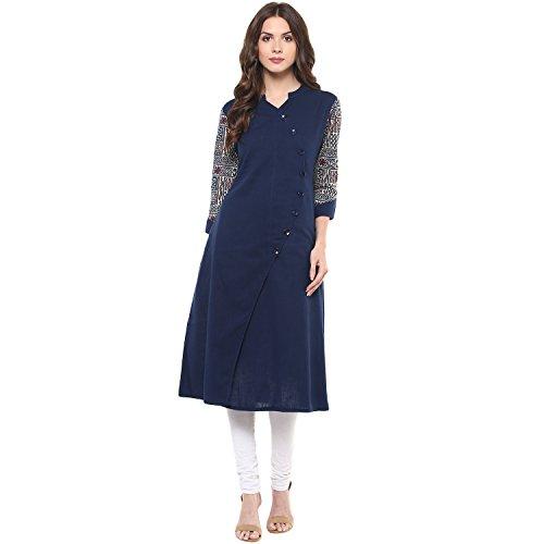 Indian Virasat Women's Cotton Printed Kurta (Indigo Blue,