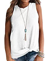 IWOLLENCE Womens Waffle Knit Tunic Casual Blouse Sleeveless Cute Twist Knot Tank Tops White Large