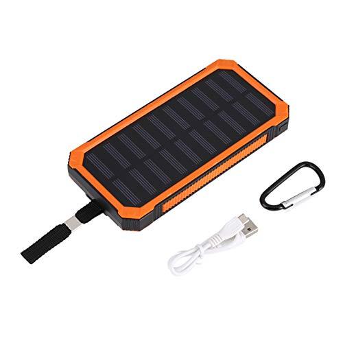 Asixxsix Cargador de batería Solar Batería Externa Cargador USB portátil Power Bank, 20000Mah para Viajes al Aire Libre, Senderismo y vocaciones(Orange)
