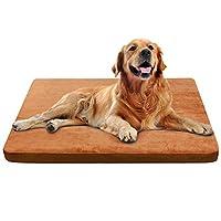 JoicyCo ペットベッド 犬ベッド 犬マット ペットマット 大型犬 クッション性抜群 足腰・関節にやさしい 老犬に 子犬 丁度いい厚さ カバーだけ洗う 清掃しやすい 多頭飼い 滑り止め 型崩れしない 通年使える 100*85*5cm(コーヒーブラウン L)