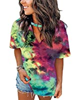 DOSWODE Women's Tie Dye Shirt Summer Short Sleeve V-Neck Cute Printed Tops for Women Green S