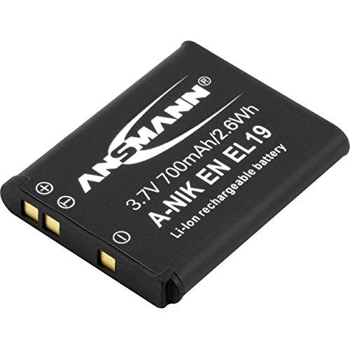 ANSMANN Li-Ion Akku A-Nik EN EL 19 3 7V / Typ 700mAh / Leistungsstarke Akkubatterie für Foto Digitalkameras - der perfekte Ersatzakku für Nikon Digicam uvm.