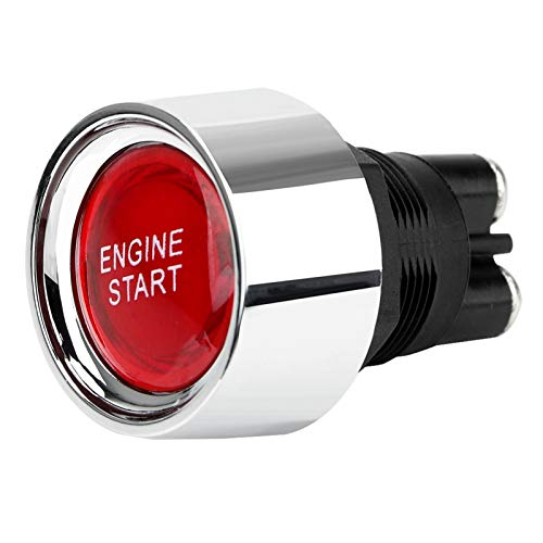 Cylficl. Interruptor de arranque rojo de 12 V DC del arranque del motor que compite con el reset momentáneo universal iluminado interruptor automático del coche
