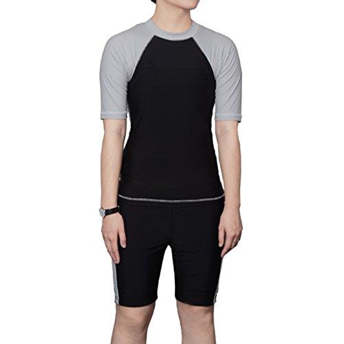 BaronHong Women Lesbian Tomboy Chest Binder Quick-Drying Swimwear Set Top+Swimming Pants(blackgray,XXL)
