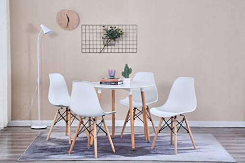 GroBKau Mesa de comedor con 4 sillas, moderna mesa redonda blanca para cocina, comedor, café, ocio, mesa de 5 piezas (80 x 80 x 75 cm (yms-wh)
