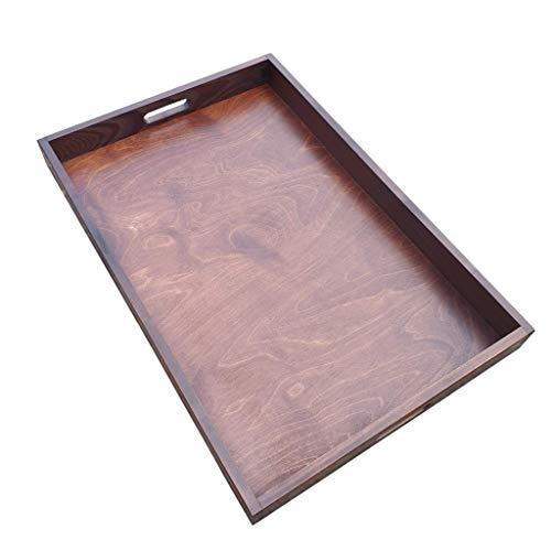 Großes Serviertablett aus Holz, 60 x 40 x 6 cm, Braun