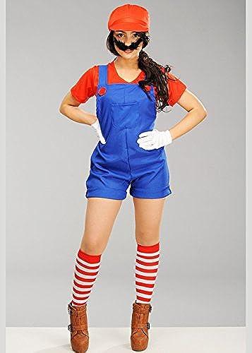Delumières Les Les dames Super Costume Mario Plombier Mario Style grand (UK 16-18)