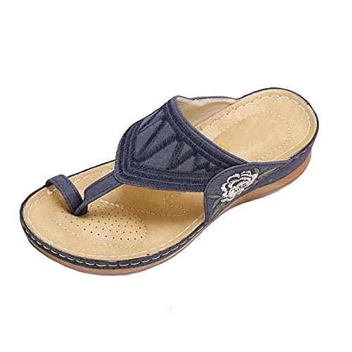 RONGCHUANG Damen Flip Flops Sandale Summer Beach Sandalen rutschfeste Bequeme Bogenstütze Sandalen Lässige Tangasandalen Sport Flat Slides Schuhe Komfortable Walk Soft Sandalen