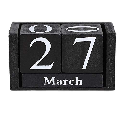 NOBRAND Unibell Vintage Calendario de Escritorio de Madera del Bloque de Madera Mes exhibición de la Fecha de Ministerio del Interior Decoración Negro