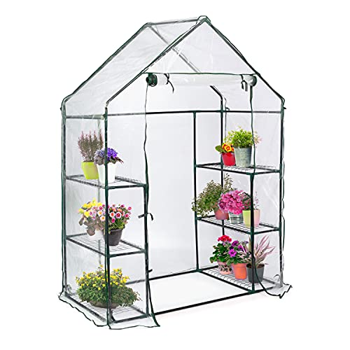 Garden Mania - Walk In Greenhouse with PE Plastic Cover and 6 Shelves - 143x73x195cm