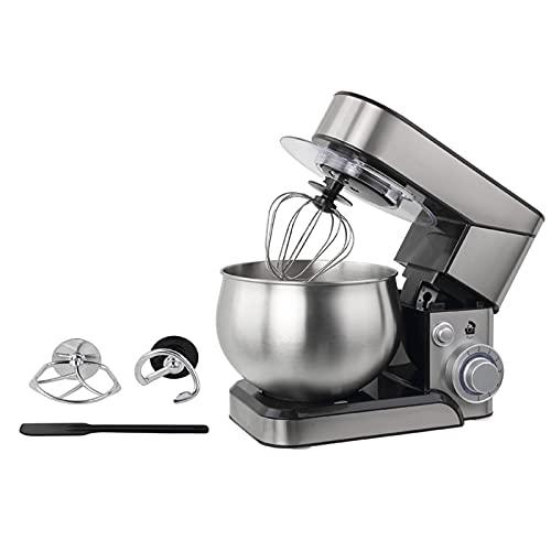 Robot de cocina multifunción de 5 l, 6 marchas, 600 W, con accesorios para amasar, batir y agitar, de acero inoxidable, con diseño antideslizante