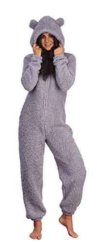 Lora Dora Womens Fleece All in One Grey Teddy Large