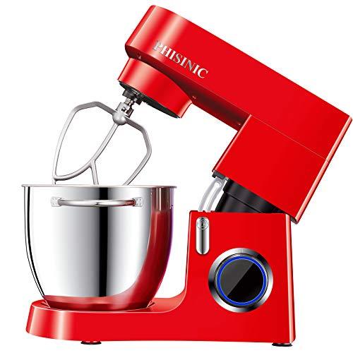 Batidora Amasadora 1800W Amasadora de Pan Repostería 6.5L Robot Amasador Cocina, Silencioso Potente Profesional y Multifunción, 6 Velocidades con Pulso, Bol de Acero Inoxidable, Cuerpo Metálico, Rojo