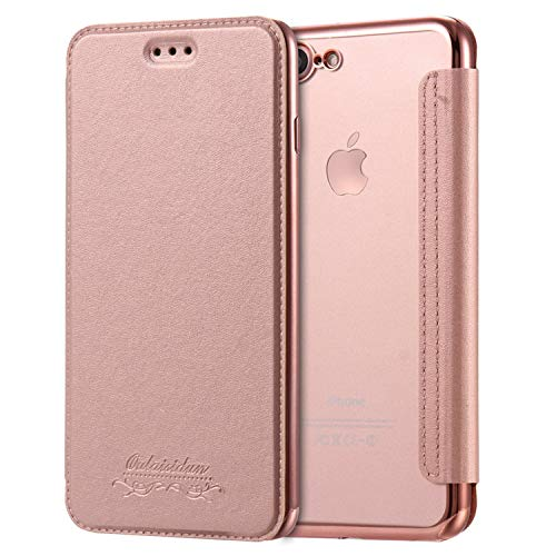 Luxury Wallet Flip Book PU Leather Phone Case for iPhone X XR XS Max 5 5S SE 6 6S 7 8 Plus Transparent Clear Back Cover Shell,Rose,for iPhone 6 Plus