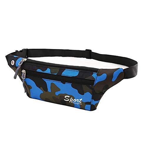 Sac De Taille Sacs de Sport pour Hommes et Femmes Ultra-Thin Anti-Theft Travel Fermer Poches de Camouflage Invisibles Course à Pied en Plein air Bum Bag @ Blue A