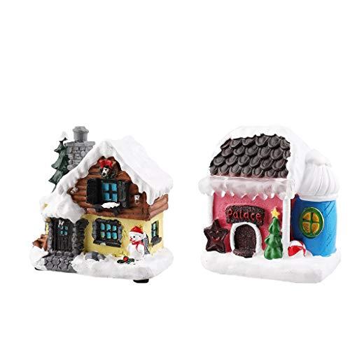 FLAMEER 2xResin Christmas House Ornament Micro Landscape LED Battery Battery Village Village Decoración