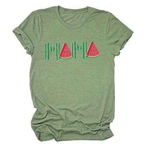 Regalo divertido de la fruta del verano de la sandía de mamá - excelente camiseta del día de la madre (Color : Green, Size : XL)
