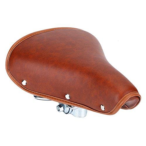 Sillín de bicicleta, Asixx Asiento de bicicleta marrón cómodo y universal o Sillín de bicicleta de cuero PU duradero que incluye dos resortes y abrazadera de asiento, con procesamiento de galv
