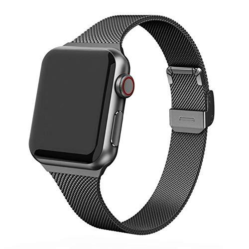 PZZZHF Correa para Apple Watch 44 mm 40 mm, acero inoxidable, correa de metal para Apple Watch 6 5 4 3 SE para reloj de 42 mm 38 mm (color de la correa: negro, ancho de la correa: 40 mm)